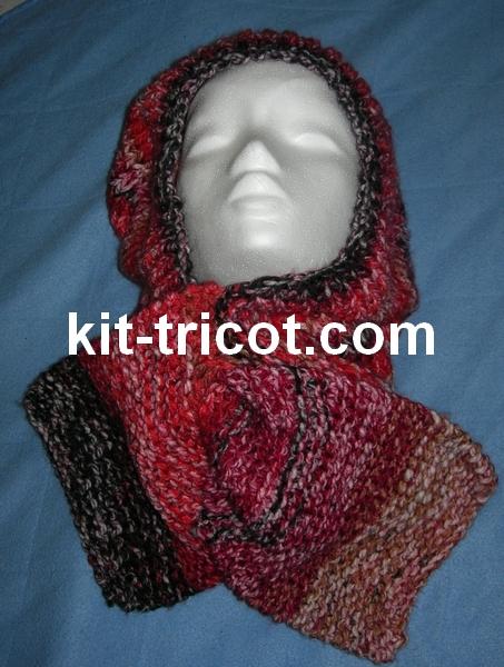 capuche écharpe au tricot