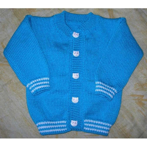 FICHE TRICOT gilet layette chat