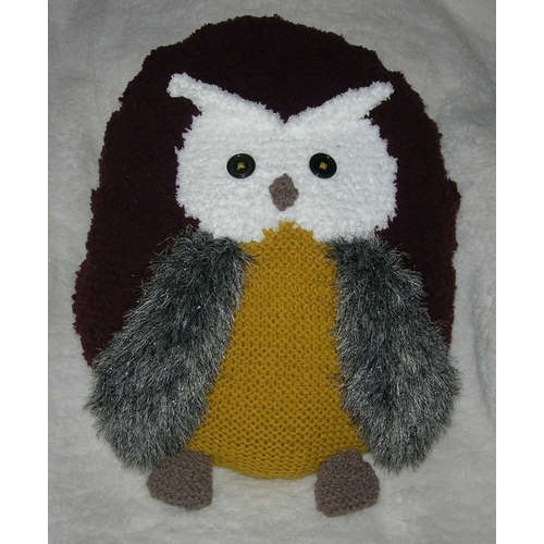 coussin tricot hibou