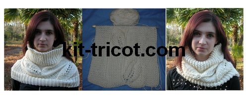 snood tricot au point feuille
