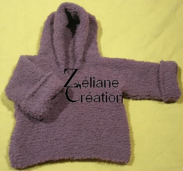 pull layette tricot avec capuche
